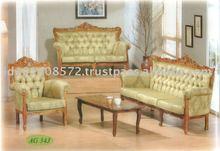 Teak Sofa Set Classic Design Romawi Bunga Pandan 4 , Indoor Furniture