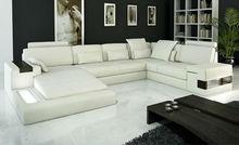 2013 modern simple large siz LIGHT U shaped Corner Genuine leather Sofa with lounge suite 9107-10