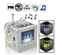 6 Colors Digital Portable Mini Speaker Music MP3/4 Player Micro SD/TF USB Disk Speaker FM Radio LCD Display