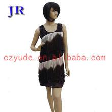 Costume robe de danse latine salle de bal belle frange l- 7008#