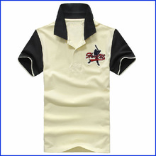 Custom 100% Heavy Cotton Staff Uniform Polo Shirt with color block design