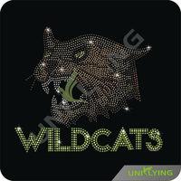Qualified manufacturer supply iron on rhinestone transfer wildcats