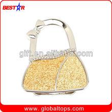 Promotional Foldable Bag Hanger with Epoxy Logo, Metal Bag Hanger