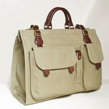 Canvas travel bag pertaining leather with3 pockets on face,Japanese SILVER LAKE CLUB(130315)