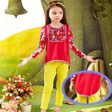 2013 European and American Baroque Floral hit color swallowtail hem long sleeve girls' T-shirt design for elegant kids ta2006