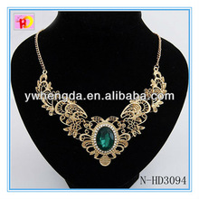 latest fashion angel wings round pendant antique necklace