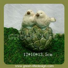 Garden Couple Glazed Ceramic birds