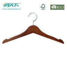 WL8048 FSC walnut color anti-skid shirt hangers