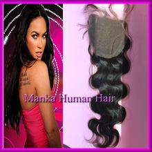 12-24inches 4x4inches virgin brazilian hair body wave top lace Closure