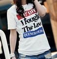 Coreano t- shirt del alfabeto inglés para la mujer
