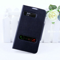 Decent wondow caller id case pu leather flip case for samsung galaxy note2 n7100 stand function mobile phone case new product