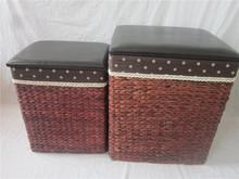 wooden storage bins seat stool