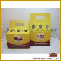 Custom Printing 6 pack Cardboard Beer Bottle Carriers