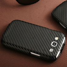 carbon fiber pattern cell phone flip cover for galaxy s3