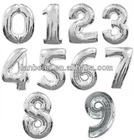 Foil colorful number shaped balloons