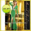 Hot Sale Long Good Quality Chiffon Beaded Deep V-neck Sexy Long Sleeve Evening Dress Designer