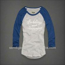 Ladies 3/4 sleeve cotton t shirt, 65 polyester 35 cotton t shirt