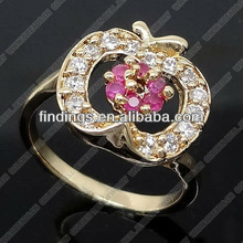 2013 new style Brass finger ring with zircon, apple shape