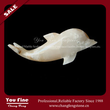 Exquisite Marble Carved Onyx Dolphin Statue