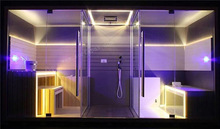 2012 Best seller new design multifunctional rectangle hemlock/finland wood sauna and steam combined room (SF1A001)