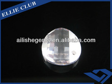 factory directly selling single checkerboard white colo round shape sew on synthetic cubic zircon gemstones for lighting