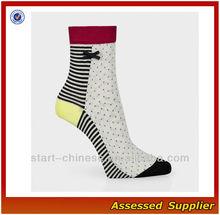 Women's White Black Colorful Aran Glitter Spot Stripe Socks Cotton Dress Socks