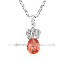Princess dream girl austrian crystal crown drop pendant necklace N97583