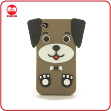 Hot Sale Cute Puppy Dog Design 3D Animal Rubber Coating Case for Iphone 4 4S