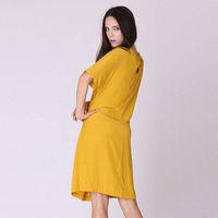 YIGELILA Plus Size Fashion Half Sleeves Draped Casual Dress 6319