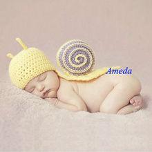 1pc yenidoğan kız Salyangoz örgü tığ erkek bebek giysileri sarı kostüm fotoğrafı pervane