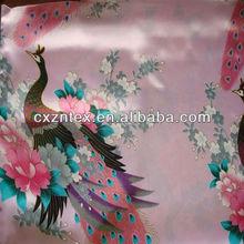 Peacock satin print fabric