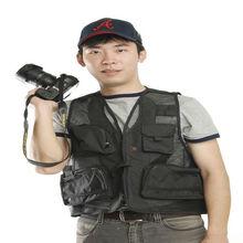Negro conveniente para turismo / pesca / fotografía de malla chaleco de pesca