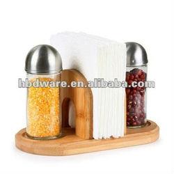 OEM/wholesales/customization! glass cruet set with bamboo/wooden napkin holders/menu racks