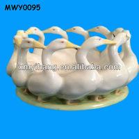 12 White Duck Glazed Ceramic Table Centerpieces