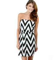 Women's Fashion Dress With Black & White Chevron Print & Back Cut-Out dress
