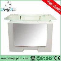 white glass modern reception counter