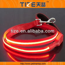 2015 Hot single line flashing leash wholesale TZ-PET 5102 led nylon dog collar leash