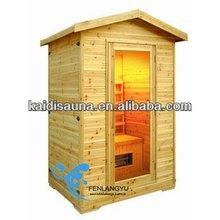 2person pine outdoor far infrared sauna house(KD-5002H)