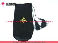 Luxurious display black velvet drawstring wine bag