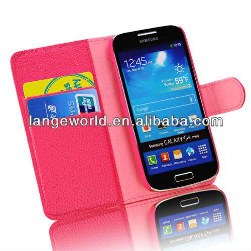 Fashion Leather Wallet Magnet Design Flip Case for Samsung Galaxy S4 Mini I9195
