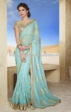 Indian Chiffon Party Function Wear Designer Saree-sky blue hot looking saree-2015 new fashion saree