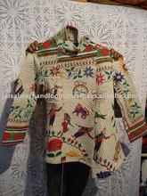 Kantha Cotton Jacket Women Wear Reversible Floral Coat Winter Warm Green Blazer