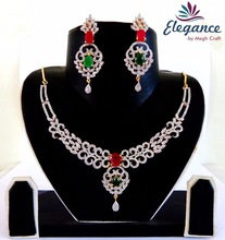 AMERICAN DIAMOND AND RUBY NECKLACE-PARTY WEAR ZIRCON JEWELLERY-INDIAN BRIDAL AMERICAN DIAMOND JEWELLERY