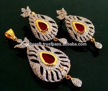 Wholesale american diamond pendant set - party wear delicate pendant set - imitation jewelry - fashion cz jewelry