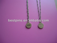 2pcs small round shaped necklace with your brand