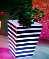 plastic stripe led light flower pot