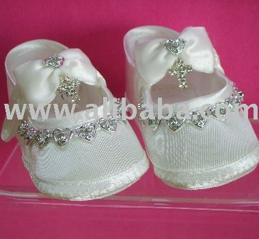 ... Details: 'Alicia' - Baby Girls Satin Christening or Baptism Shoes