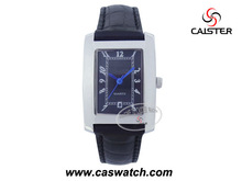 New classic rectangle dial blue hands leather quartz watch for man