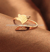 korean design couples 18 k gold plating rose gold fox tail ring ring opening female pinky Korea Mosaic gold rings
