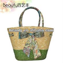 2015 Alibaba Trade Assurance fashional women's wheat straw tote bags